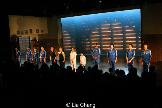 The cast of David Henry Hwang's Kung Fu at their opening night curtain call on the Irene Diamond Stage at Signature Theatre Company's Pershing Square Signature Center in New York on February 24, 2014. Photo by Lia Chang