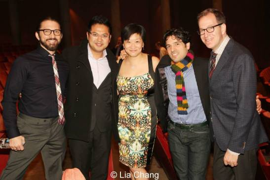 Andrew Palermo (Musical Staging), Victor Maog, Co-producer Lily Fan, Noah Waxman and director Ted Sperling at the opening night performance of The Other Josh Cohen at Papermill Playhouse after the opening night on February 23, 2014. Photo by Lia Chang