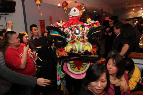 Lion Dance at Asia Roma in New York on January 29, 2014. Photo by Lia Chang