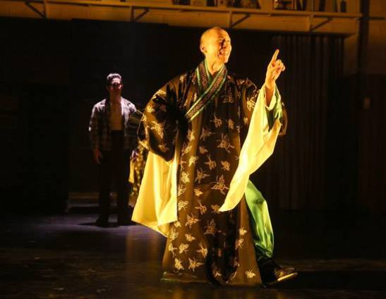 Francis Jue as Bruce Lee's father, Hoi-Chuen in Signature Theatre's production of David Henry Hwang's Kung Fu. Photo by Joan Marcus