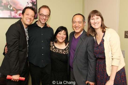 Avenue Q/Sesame Street reunion with John Tartaglia, Gary Adler, Ann Harada, Alan Muraoka and Phoebe Kreutzin the green room of The Allen Room in New York on February 22, 2014. Photo by Lia Chang