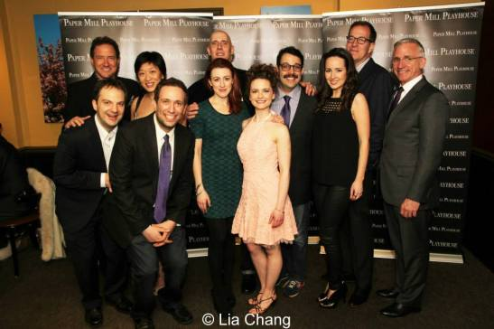 Mark S, Hoebee,Ted Sperling, Kevin McCollum and Lily Fan join the cast of The Other Josh Cohen-Hannah Elless, Vadim Feichtner, Steven Rosen, David Rossmer, Cathryn Salaone, Ken Triwush and Kate Wetherhead at the opening night party at Charlie Brown's in Milburn, NJ on February 23, 2014. Photo by Lia Chang
