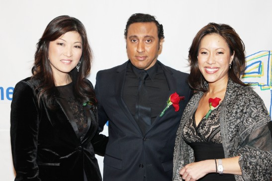 Juju Chang, 2014 Justice in Action Award recipient Aasif Mandvi and Cindy Hsu at AALDEF's 40th Anniversary Gala on March 25, 2014, at Pier Sixty, Chelsea Piers in New York. Chang and Hsu co-emceed the evening's festivities. Photo by Lia Chang