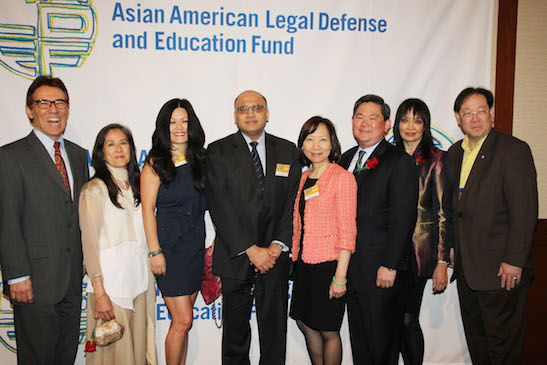 (L-R) AALDEF board members Phil Tajitsu Nash, Mari Matsuda, Lauren Lee, Ayaz Shaikh, Sandra Leung, Tommy Shi, AALDEF Executive Director Margaret Fung, Nicholas V. Chen. Photo by Lia Chang