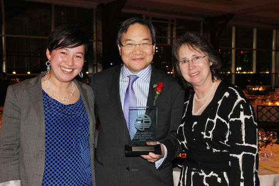 2014 Justice in Action honoree John G. Chou with his daughter Carolyn Chou and his wife Teresa Wallace. Photo by Lia Chang