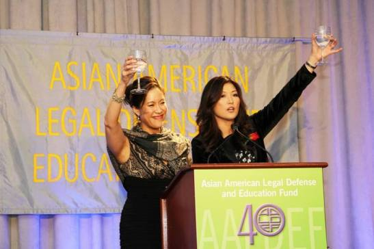 Cindy Hsu, Emmy Award-winning anchor for CBS 2 and Juju Chang, Emmy Award-winning co-anchor for ABC News Nightline, were the co-emcees for AALDEF's 40th Anniversary Gala banquet at Pier 60, Chelsea Piers in New York on March 25, 2014. Photo by Lia Chang