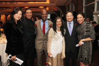 Juju Chang, Aasif Mandvi, Charles Ogletree, Jr., Mari Matsuda, John G. Chou and Cindy Hsu. Photo by Lia Chang
