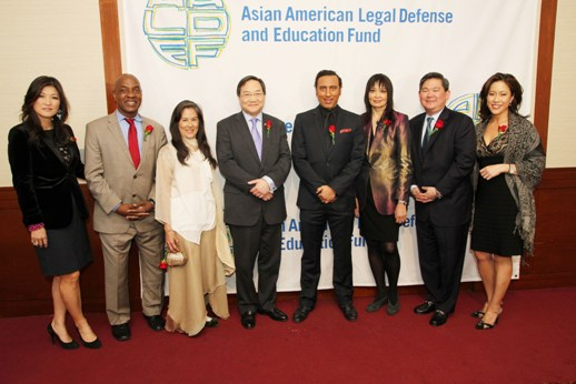 (L-R) Co-emcee Juju Chang, ABC News Nightline co-anchor, presenter Charles Ogletree, Jr., 2014 Justice in Action honorees Mari Matsuda, John G. Chou, Aasif Mandvi, AALDEF executive director Margaret Fung, AALDEF board president Tommy Shi and co-emcee Cindy Hsu. CBS 2 anchor. Photo by Lia Chang