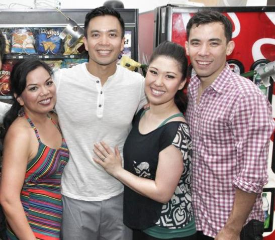 Melody Butiu, Jose Llana, Ruthie Ann Miles and Conrad Ricamora backstage at The Public on June 10, 2013. Photo by Lia Chang