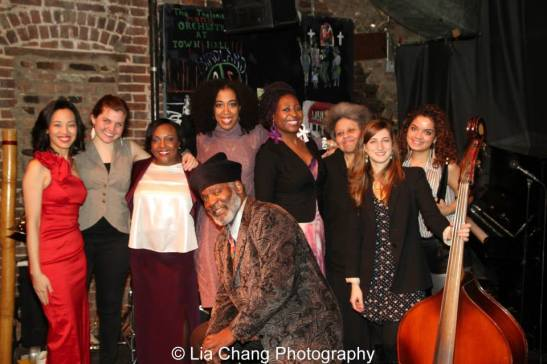 """Rome Neal's Banana Puddin' Jazz Series """"LADY"""" featuring Lia Chang, Kathleen Doran (trumpet/vocals), Carolyn Holmes, Noel Simon' Wippler, Sista, Linda Hudson (piano), Adi Meyerson (bass), Josephine Morena Cuevas (drummer) and Rome Neal at the Nuyorican Poets Café in New York on March 1, 2014. Photo by Tom Goodwin"""