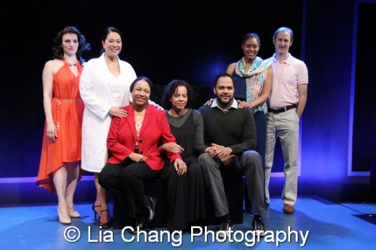The cast of Tough Titty (L-R) Antoinette LaVecchia, Christine Toy Johnson, Elizabeth Van Dyke, Ami Brabson, Victor Williams, Nikkole Salter, Richard Topol. Photo by Lia Chang