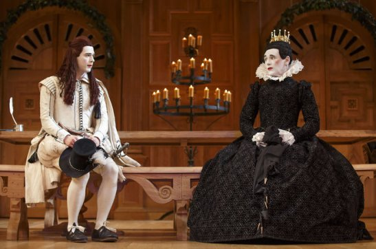 "Samuel Barnett, left, as Viola, and Mark Rylance, as Olivia, in the Shakespeare's Globe production of ""Twelfth Night,"" directed by Tim Carroll, at the Belasco Theatre in New York. Photo by Joan Marcus"