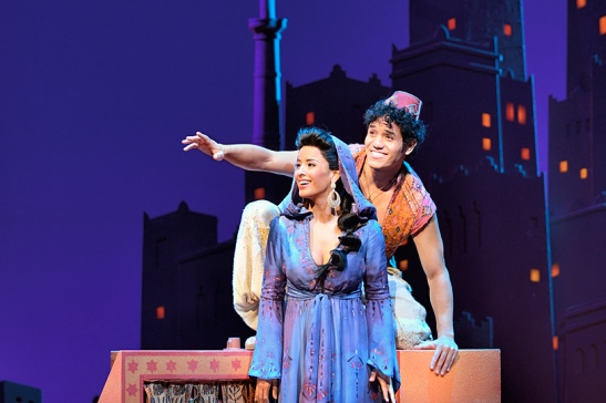 Adam Jacobs and Courtney Reed in Aladdin. Credit: Deen Van Meer