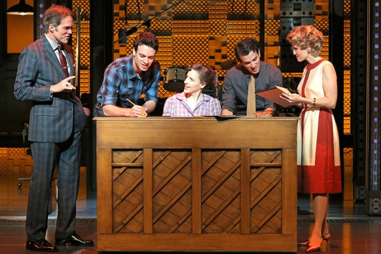 Jeb Brown, Jake Epstein, Jessie Mueller, Jarrod Spector, Barry Mann, and Anika Larsen in Beautiful - The Carole King Musical. Credit: Joan Marcus