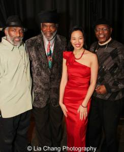 """Cedric Rose, Rome Neal, Lia Chang and Eric Frazier at Rome Neal's Banana Puddin' Jazz """"LADY"""" at the Nuyorican Poets Cafe in New York on March 1, 2014."""