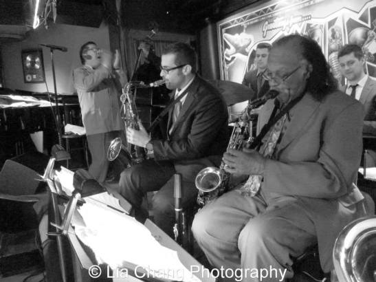 George Gee and the cats hold court every Tuesday at SWING46 in Times Square. Photo by Lia Chang