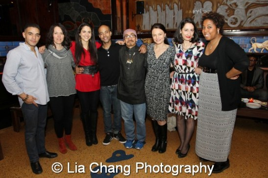 Gil Perez-Abraham Jr, Chantal Bilodeau, Pia Haddad, Sean Carvajal, Jojo Gonzalez, Ana Grosse, Tracy Cameron Francis and Kimille Howard at the opening night party for Holy Land at Babylon Hookah Lounge in New York on April 23, 2014. Photo by Lia Chang