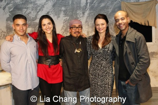 The cast of Holy Land after the opening night performance on the set at Here in New York on April 23, 2014. (L-R) Gil Perez-Abraham Jr., Pia Haddad, Jojo Gonzalez, Ana Grosse, Sean Carvajal. Photo by Lia Chang