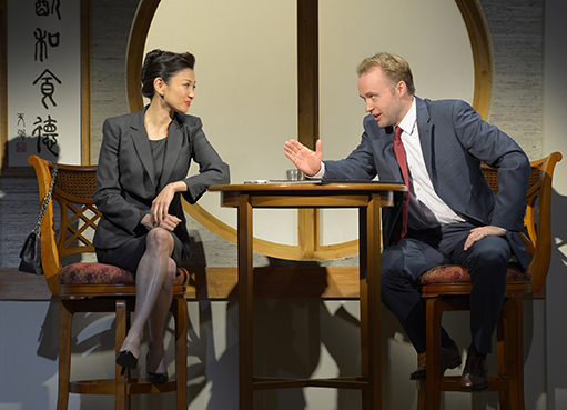 Michelle Krusiec (left) and Alex Moggridge (right) in South Coast Repertory's production of Chinglish, a new comedy from David Henry Hwang. (2012) Photo courtesy of kevinberne.com