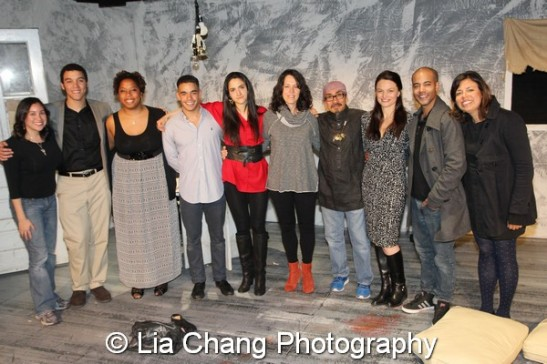 The cast and creative team of Holy Land on the set at Here in New York on April 23, 2014. (L-R) Lauda Perez, Cliff Sellers, Kimille Howard, Gil Perez-Abraham Jr., Pia Haddad, Chantal Bilodeau, Jojo Gonzalez, Ana Grosse, Sean Carvajal and Taiana Trajano. Photo by Lia Chang