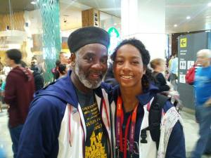 Rome Neal and his daughter Olympian swimmer Lia Neal at the 2012 Olympics in London. Photo courtesy of Rome Neal