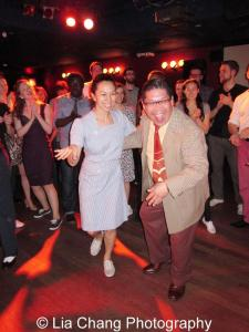 """Proof positive that """"SWING MAKES YOU HAPPY!""""Stina Dallons Isaksen and birthday boy George Gee. Photo by Lia Chang"""