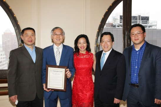 Former City Comptroller John LIu, Cao K. O, Lia Chang, George H. Wang, Chair of the Federation's Board of Directors  and Assemblyman Ron Kim. Photo by Lia Chang