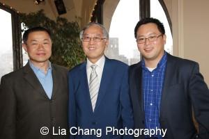 Former City Comptroller John Liu, Cao K. O and Assemblyman Ron Kim. Photo by Lia Chang