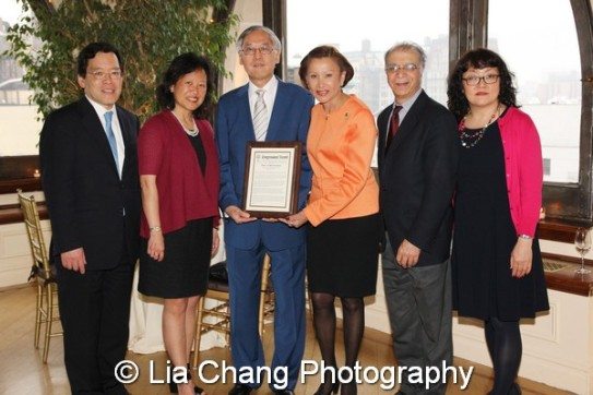 (L-R) George H. Wang, Chair of the Federation's Board of Directors, Marjorie Hsu, Cao K. O, Congresswoman Nydia Velázquez, Muzaffar Chishti and Jo-Ann Yoo. Photo by Lia Chang