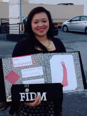 Asia Flores with her application portfolio at FIDM in San Francisco, CA. Photo by Marissa Chang-Flores