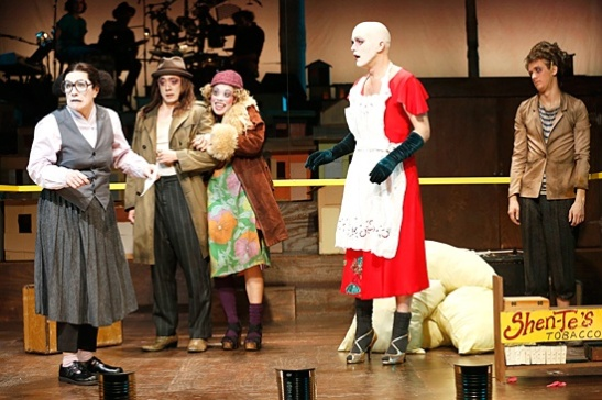 Lisa Kron, Paul Juhn, Brooke Ishibashi, Taylor Mac & Ephraim Birney in Good Person of Szechwan. Photo by Carol Rosegg