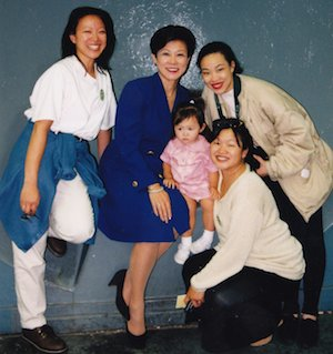 Asia Flores, age 2, with her Auntie Tami Chang, grandmother Beverly Umehara, Auntie Lia Chang and her mother Marissa Chang-Flores[