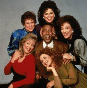 Promotional portrait of the cast of the television series, 'Designing Women,' c. 1987. Clockwise from bottom left: Jean Smart, Alice Ghostley, Delta Burke, Dixie Carter, Annie Potts and Meshach Taylor. (Photo by Fotos International/Courtesy Getty Images)