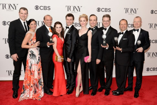 "The Cast and crew of ""A Gentleman's Guide to Love and Murder"" poses in the press room during the 68th Annual Tony Awards on June 8, 2014 in New York City."