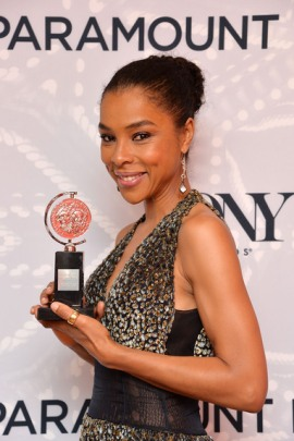 Actress Sophie Okonedo, winner of the Tony Award for Best Performance by an Actress in a Featured Role in a Play for 'A Raisin in the Sun' poses in the Paramount Hotel Winners' Room at the 68th Annual Tony Awards on June 8, 2014 in New York City. (Photo by Mike Coppola/Getty Images for Tony Awards Productions)