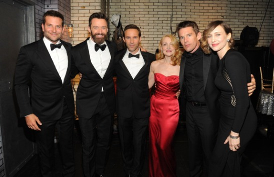 Bradely Cooper, Hugh Jackman, Alessandro Nivola, Patricia Clarkson, Ethan Hawke and Vera Farmiga attend the 68th Annual Tony Awards at Radio City Music Hall on June 8, 2014 in New York City. (Photo by Kevin Mazur/Getty Images for Tony Awards Productions)