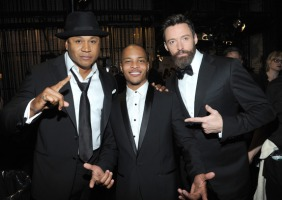 LL Cool J, T.I. and Hugh Jackman attend the 68th Annual Tony Awards at Radio City Music Hall on June 8, 2014 in New York City. (Photo by Kevin Mazur/Getty Images for Tony Awards Productions)