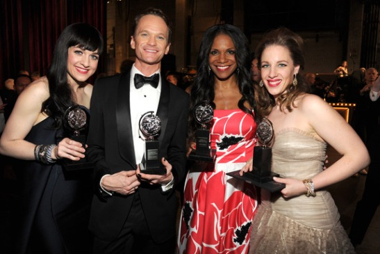 Lena Hall, Neil Patrick Harris, Audra McDonald and Jessie Mueller attend the 68th Annual Tony Awards at Radio City Music Hall on June 8, 2014 in New York City. (Photo by Kevin Mazur/Getty Images for Tony Awards Productions)