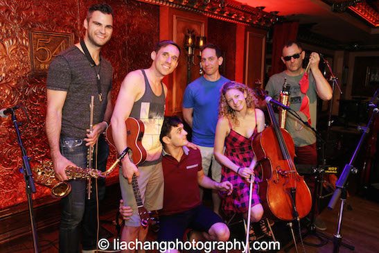 Soundcheck for The Skivvies at 54 Below in New York on June 4, 2014 with Andrew Gutauskas, Nick Cearley, Wesley Taylor, Garth Kravits, Lauren Molina and Shannon Ford. Photo by Lia Chang