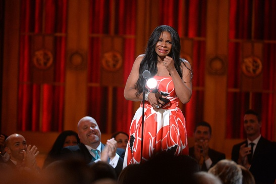 Tony Award winner Audra McDonald accepts the award for Best Performance by an Actress in a Leading Role in a Play for 'Lady Day at Emerson's Bar & Grill' onstage during the 2014 Tony Awards. Credit: Theo Wargo/Getty Images