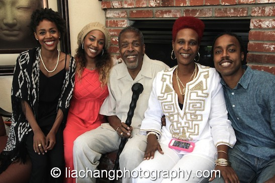 Meshach Taylor at his 67th birthday party in Toluca Lake, CA on April 12, with his daughters Esme Taylor, Yasmine Taylor, Tamar Lashae Taylor, and his son Tariq Taylor. Photo by Lia Chang