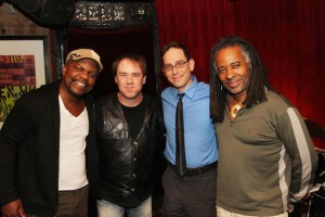 Bassist Gary Foote, drummer John Digiulio, Garth Kravits and Michael Raye at The Soul Gathering at The West End Cafe in New York on April 22, 2014. Photo by Lia Chang