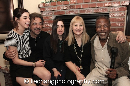 Gia Mantegna, Joe Mantegna, Mia Mantegna, Arlene Mantegna and the late Meshach Taylor at Taylor's 67th birthday in Toluca Lake, CA on April 12, 2014. Photo by Lia Chang