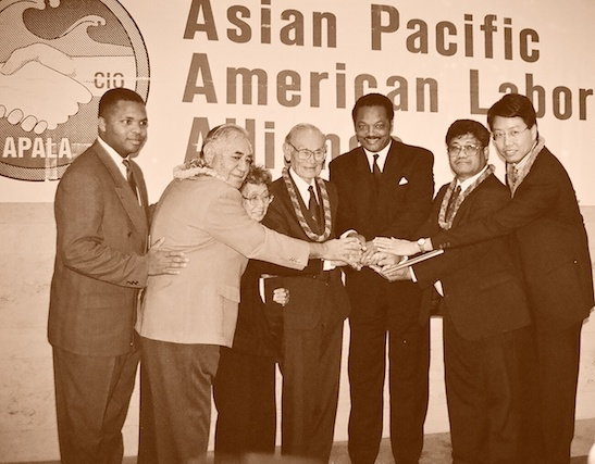 At its annual convention at the Los Angeles Hilton and Towers in 1993, APALA honored four pioneers in the crusade for Asian American civil rights. (L-R) Jesse Jackson Jr., David Trask, Jr., a noted Hawaiian labor leader, Yuri Kochiyama, a peace and community activist from New York who died in 2014, Fred Korematsu, the civil rights proponent who called upon the U.S. Supreme Court to rule on the internment of Japanese Americans during World War II who died in 2005; Jesse Jackson; Frank Atonio, who brought forward a complaint in the important labor discrimination case known as Wards Cove, and Kent Wong, APALA's first president. Photo by Lia Chang