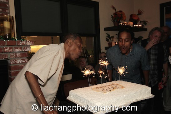 Meshach with his son Tariq Taylor at Taylor's 67th birthday party at the home of Arlene and Joe Mantegna in Toluca Lake, CA. Photo by Lia Chang
