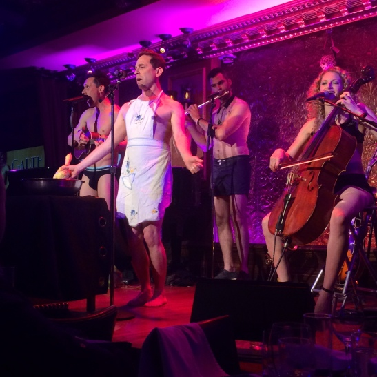 The Skivvies at 54 Below - (L-R) Nick Cearley, Garth Kravits, Andrew Gutauskas and Lauren Molina on June 4, 2014. Photo by Lia Chang