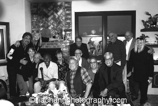 An Organic Theater Reunion at Meshach Taylor's 67th birthday in Toluca Lake, CA on April 12, 2014. From left to right: Joe Mantegna, Ina Jaffe, Arlene Mantegna, Jack Wallace, Meshach Taylor, Carolyn Gordon, John Heard, Lenny Kleinfeld, Keith Szarabajka, Josephine Paoletti, Vinny Guastaferro, Stuart Gordon, Dennis Franz, Roberta Custer. Photo by Lia Chang