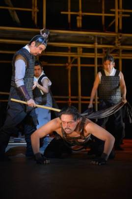 Tu'an Gu (Stan Egi) trains the Demon Mastiff (Brian Rivera) in American Conservatory Theater's production of 'The Orphan of Zhao' at The Geary Theater. Photo by Kevin Berne. Photo by Kevin Berne.