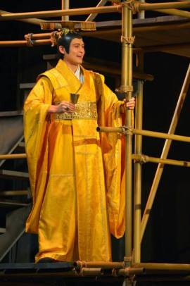 The Emperor (Paolo Montalban) stands atop his newly finished Crimson Cloud Tower in American Conservatory Theater's production of 'The Orphan of Zhao' at The Geary Theater. Photo by Kevin Berne.