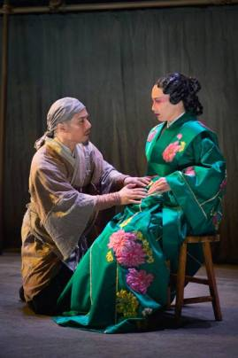 Cheng Ying (BD Wong), a country doctor, is summoned by the Princess (Marie-France Arcilla) to deliver her child in American Conservatory Theater's production of 'The Orphan of Zhao' at The Geary Theater. Photo by Kevin Berne.